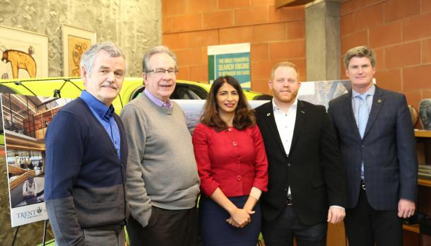 Dr. Leo Groarke, the Honourable Jeff Leal '74, the Honourable Dipika Damerla, Dr. Mark Skinner, Dr. Neil Emery Vice-President of Research and Innovation