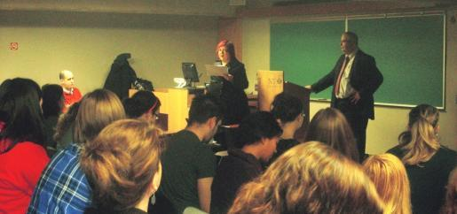 """Dr. Sylvie Bérard, associate professor and chair of Modern Languages and Literature, addresses the crowd at the """"matinée Franco-ontarienne"""""""