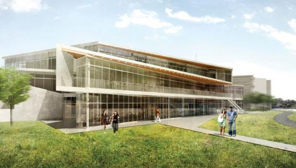 Futuristic sketch of the front of the new student centre building