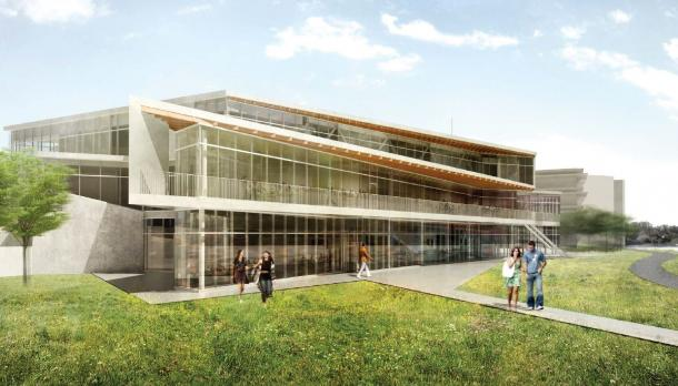 rendering of student centre with students standing outside