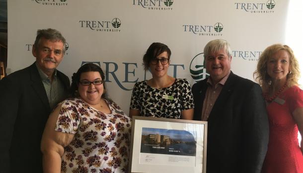 Trent Alumni gather for a photo celebrating outstanding achievement by Trent University Graduates