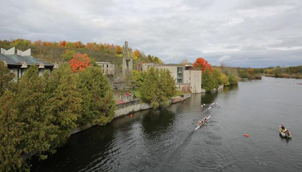 Rowers on the Otonabee during 2014 Head of the Trent