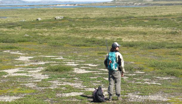 A person wearing a backpack standing in the middle of a field with an ocean in the distance.