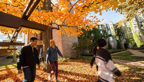 Student walking on Trent Camps during fall open house