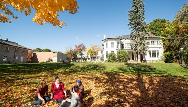Students on lawn at Catharine Parr Traill College