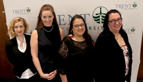 Kelly Egan, Robyne Hanley-Dafoe, Malinda Gray, and Paula Sherman smiling into camera