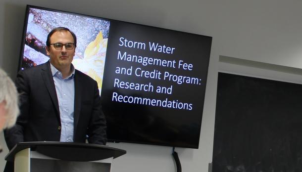 Prof. Joel Baetz at the Capstone Presentation 2018
