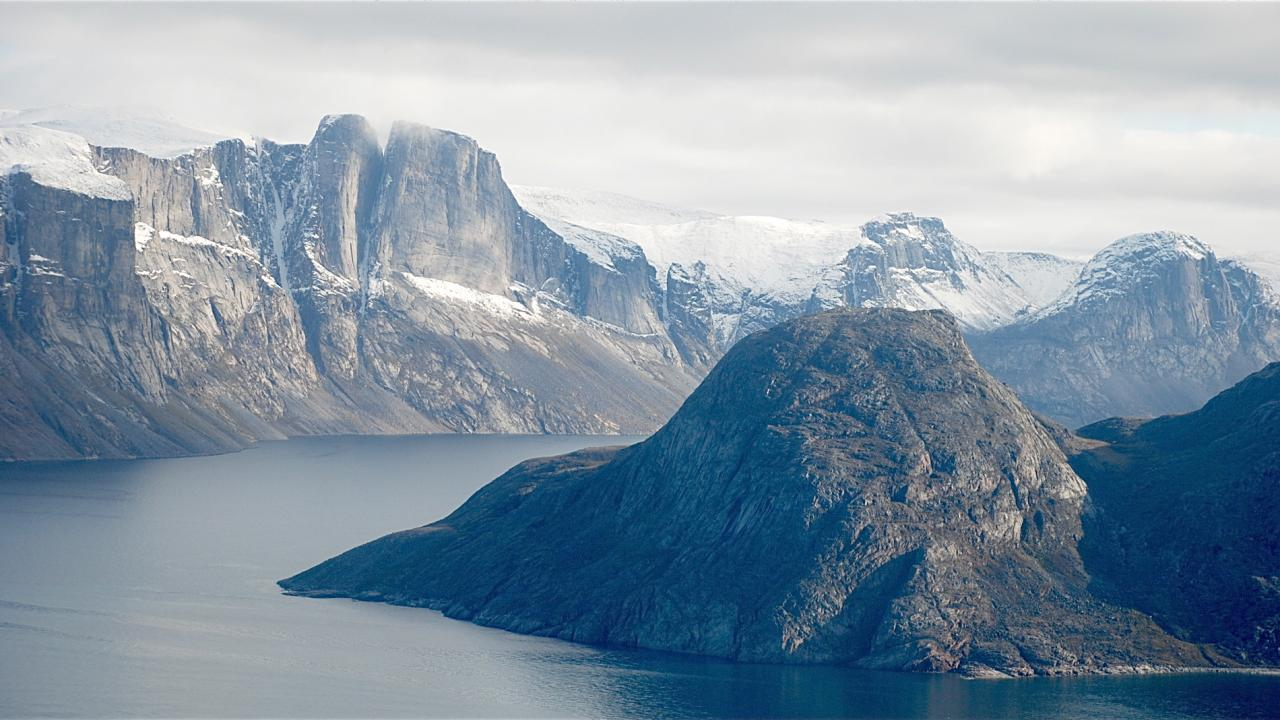 Mountains of Baffin Island and Whites Bay water