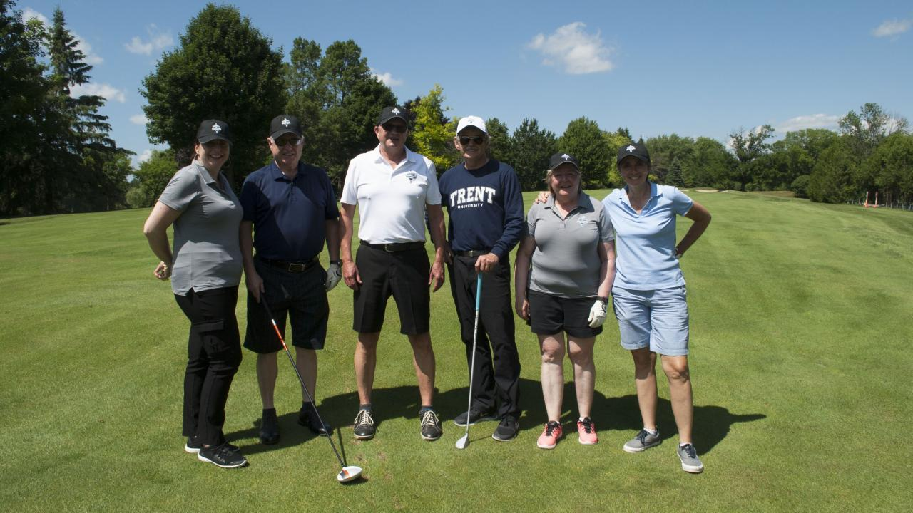 President Leo Groarke and Deborah Bright-Brundle; Robert McCullough; Steven Pillar; Dr. Leo Groarke; Dr. Jackie Muldoon; and Connie Bonello at the 14th Annual President's Excalibur Golf Tournament.