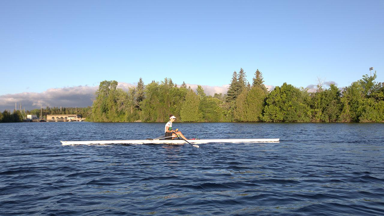 Rower on the Otonabee River near Trent's Symons Campus
