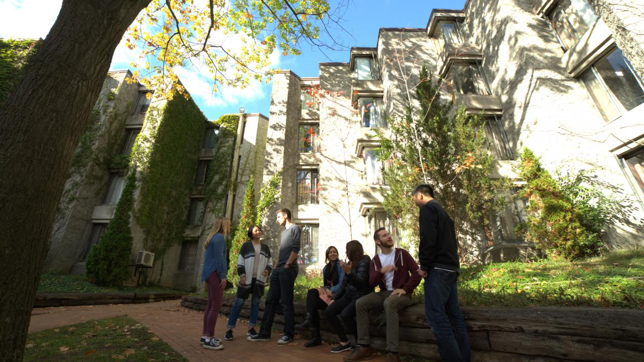 New Graduate Students sitting in Champlain Quad on Symons campus