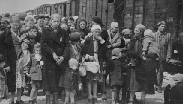 Hungarian-Jewish women and children arrive at Auschwitz in 1944