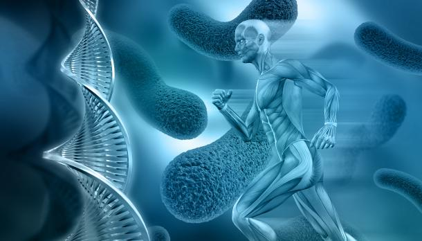 Stock image of DNA and male form running