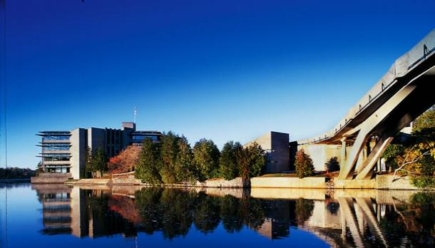 Bata Library and the Otonabee River on a clear day