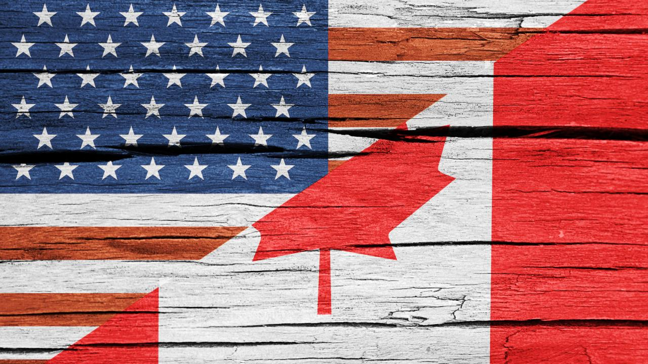 A flag of the combination of the American flag and the Canadian flag