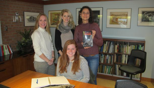 Jessica Bosnell, Amy Bowen, Prof. Magali Sperling Beck; seated Hunter Haig