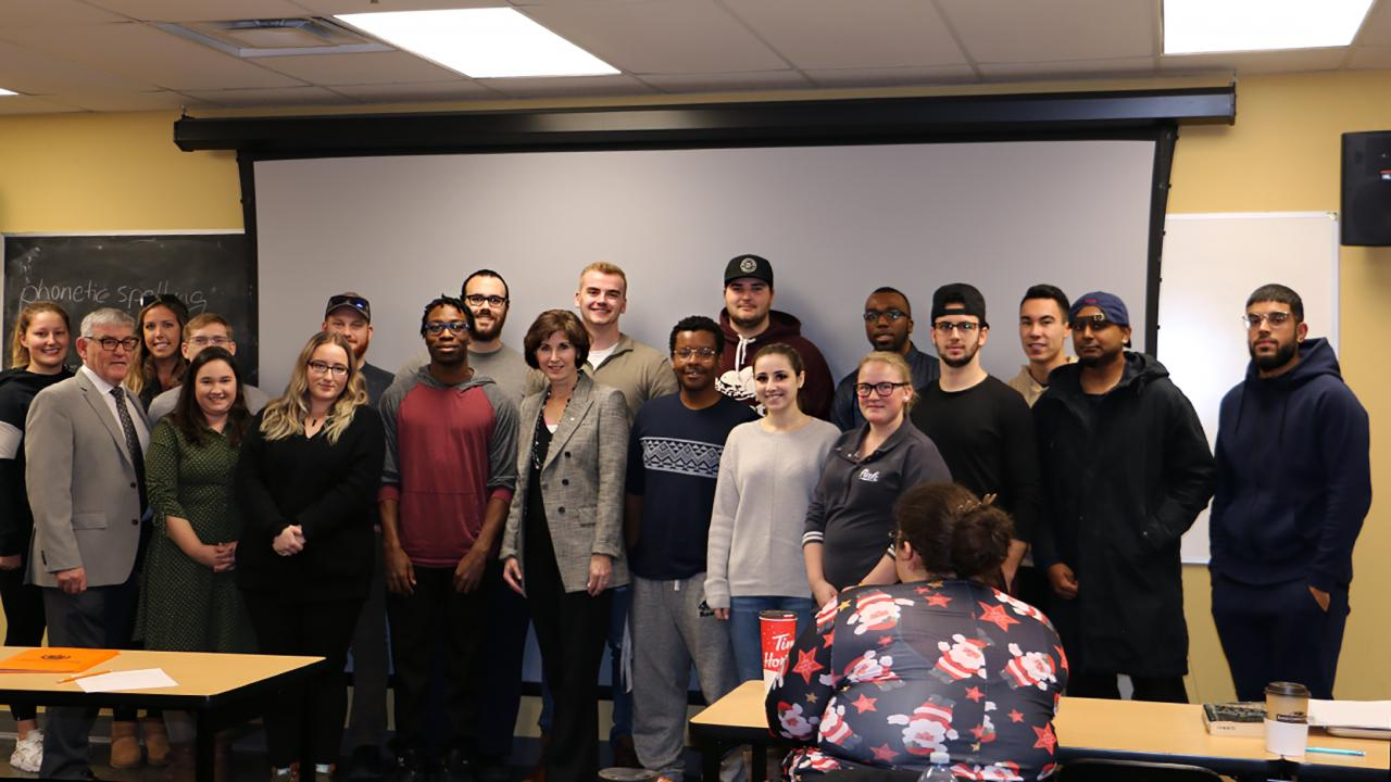 Kathleen Taylor with Trent University Durham GTA students