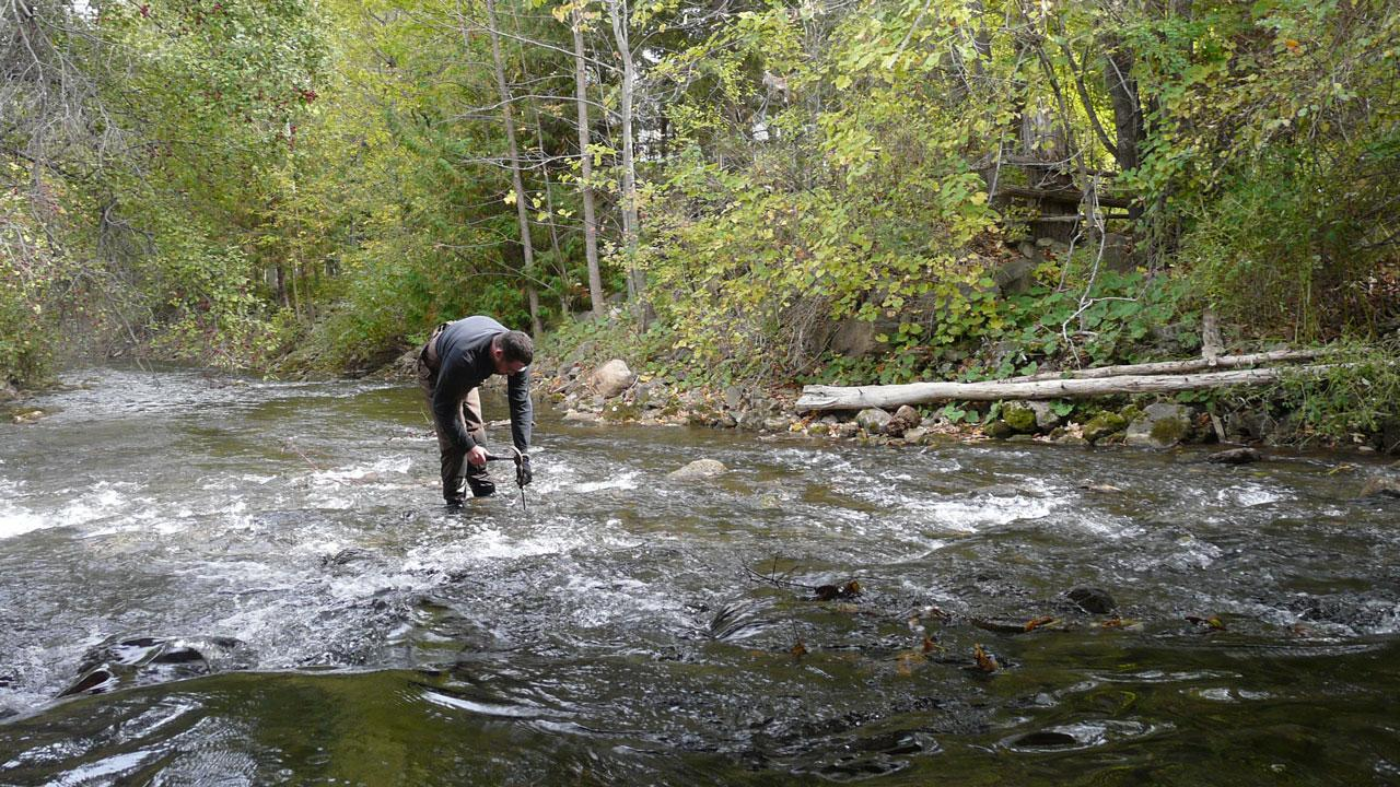 Andrew Scott conducting research on river-based ecosystems
