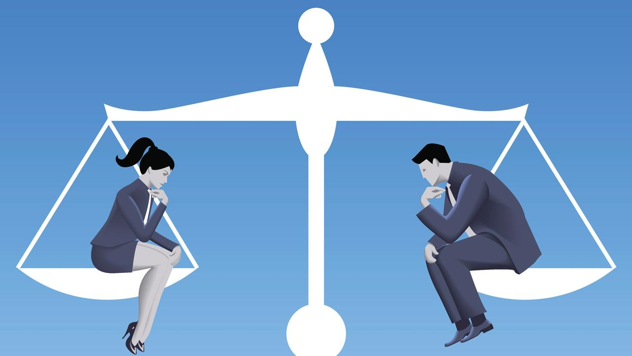 Illustration of female and male sitting on opposite ends of a scale representing gender equality.