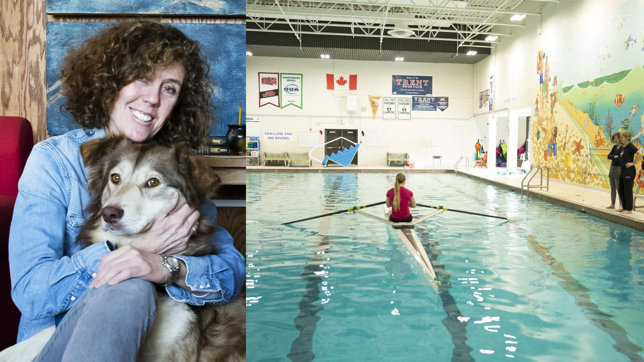 Left: Wendy Tusler with her dog. Right: Natasha Dickerman in the rowing scull as Wendy Tusler and Carol Love provide direction