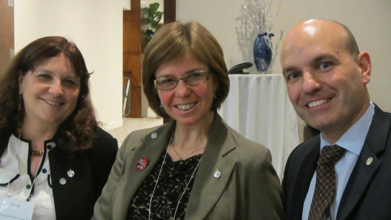 Left to right: Marjolaine Boutin-Sweet, Sheila Malcolmson and Nathan Cullen