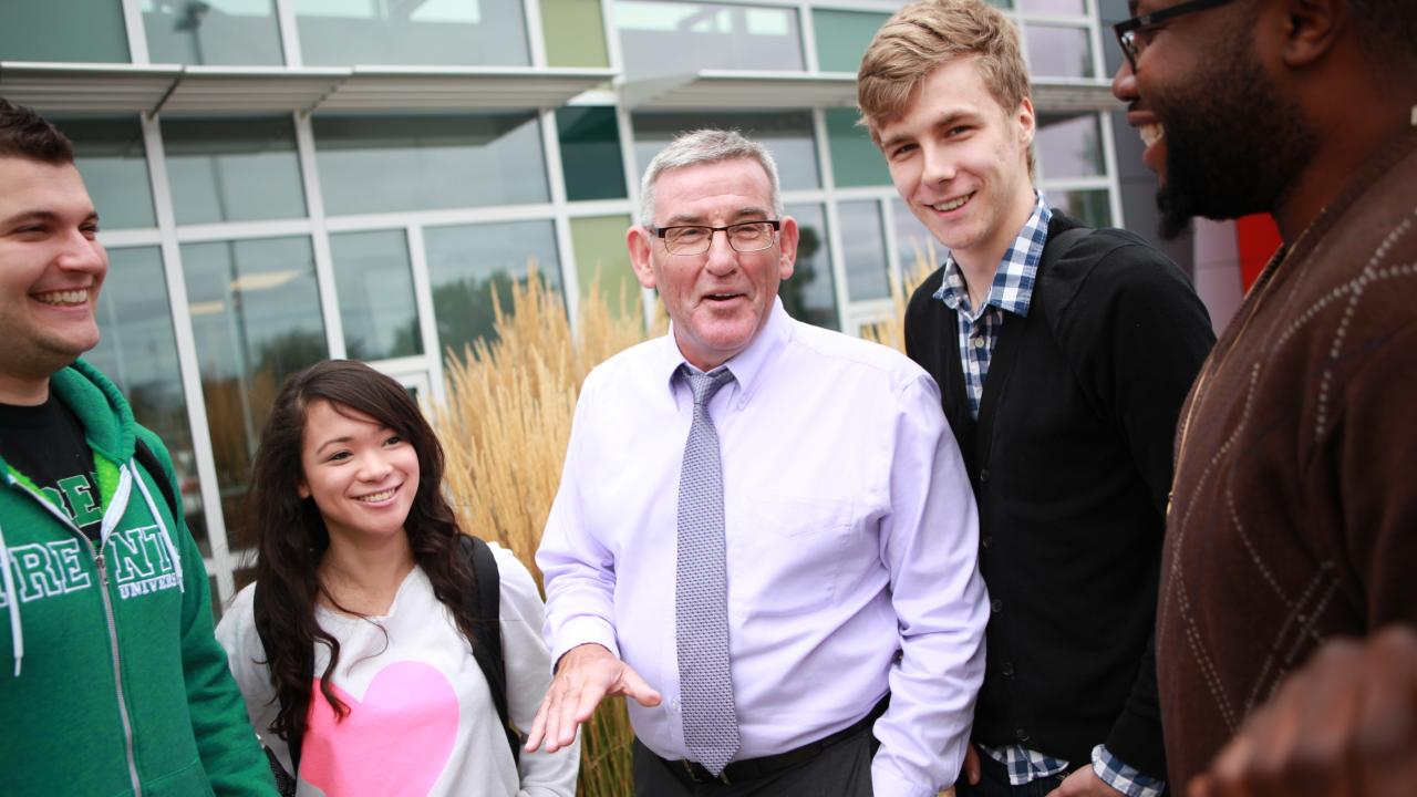Joe Muldoon speaking with students at Trent University Durham GTA.