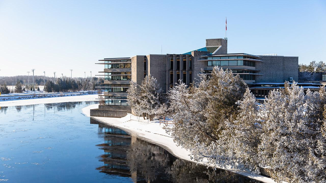 Bata Library and the Otonabee River in winter