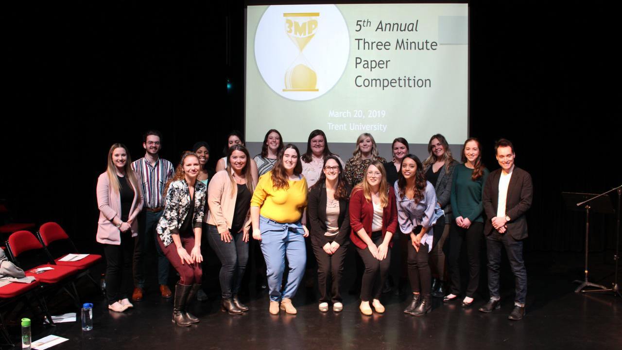 5th Annual Three Minute Paper Competition group photo.