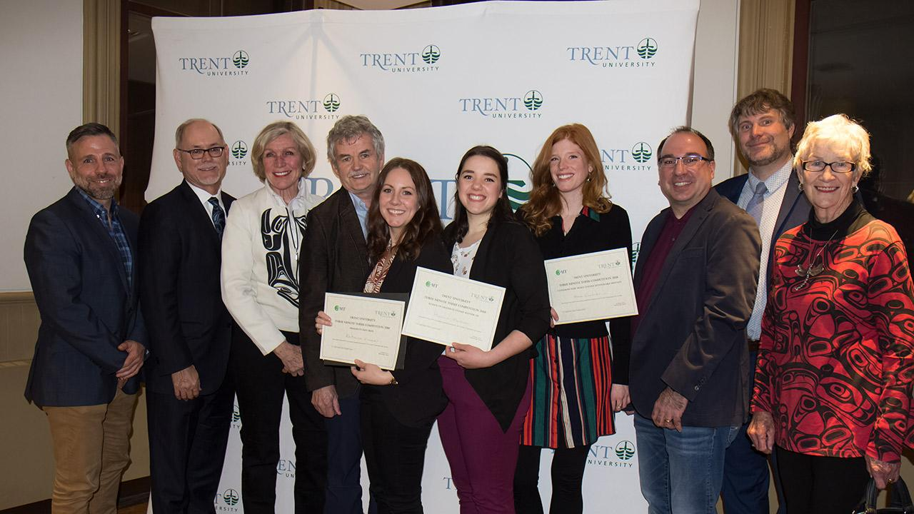 Three minute thesis group photo with winners.