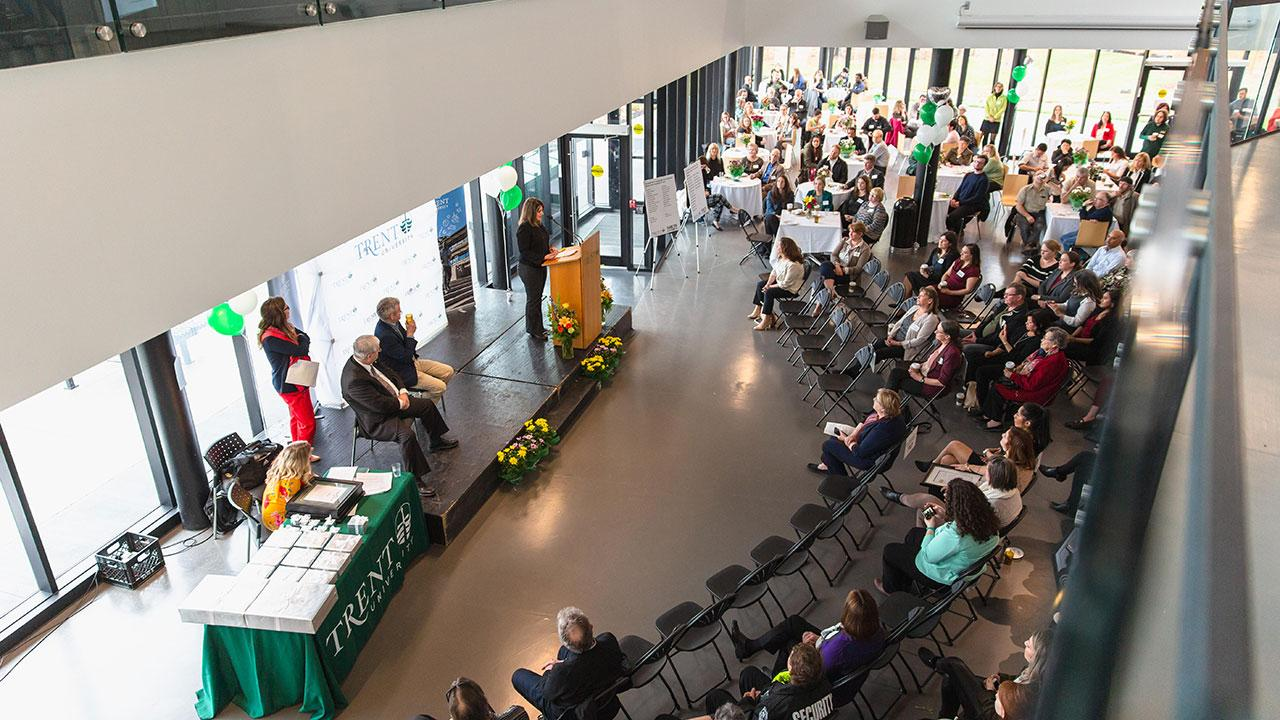 Overhead view of the crowd gathered for the awards presentation at the Heart of Trent event.