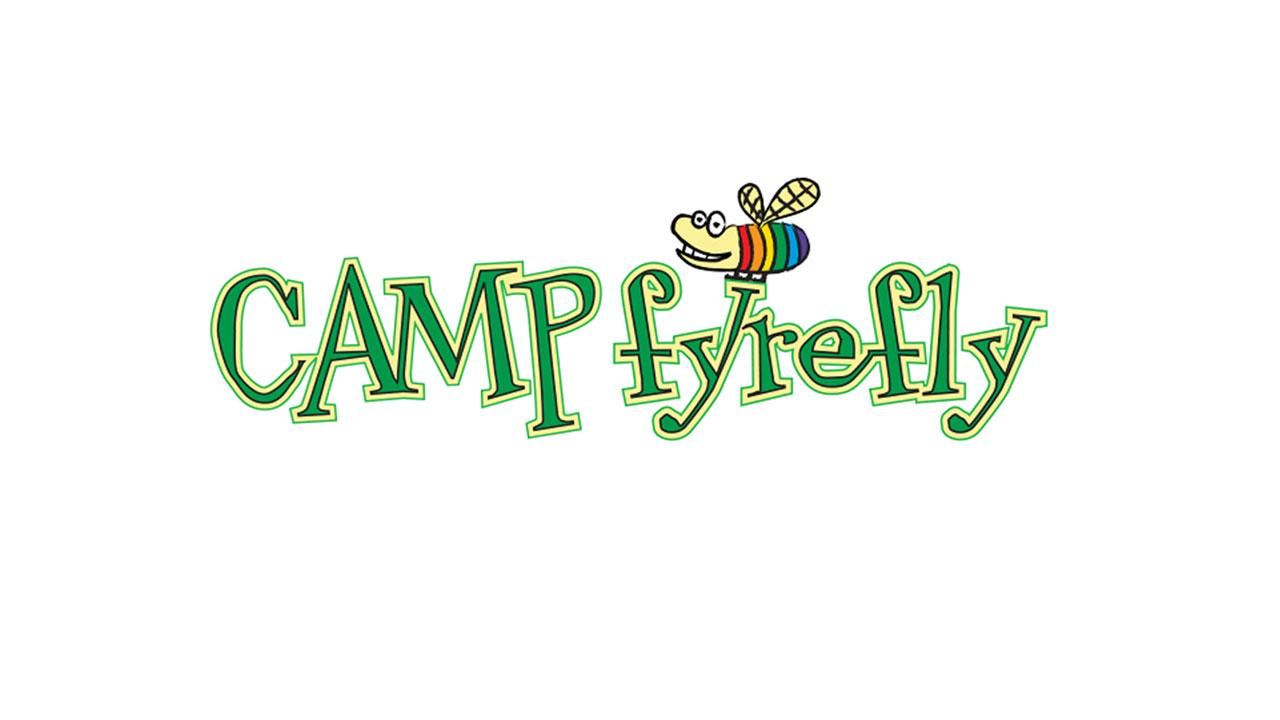 Camp Fyrefly logo with letters in green and a rainbow bee smiling above.
