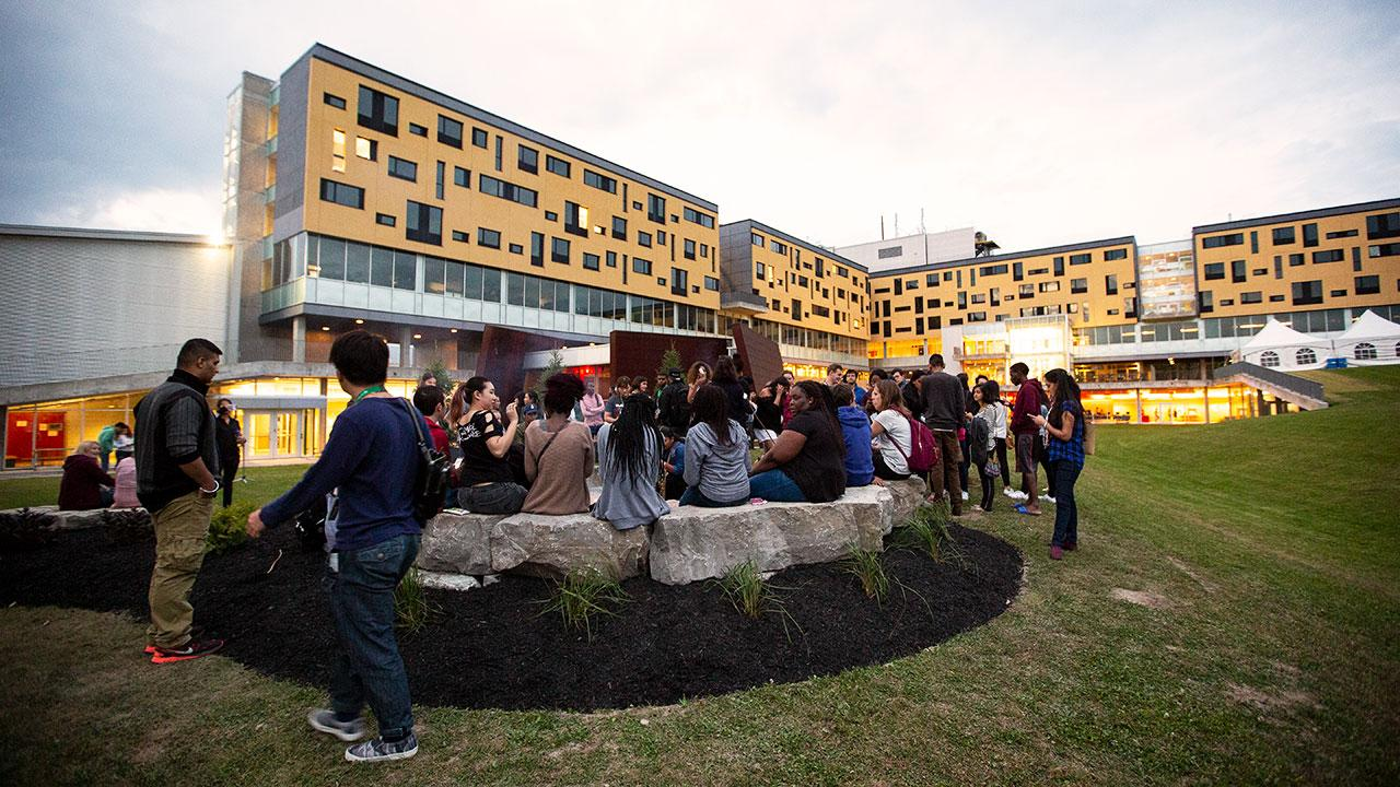 Students gathered at Gzowski College, Trent University