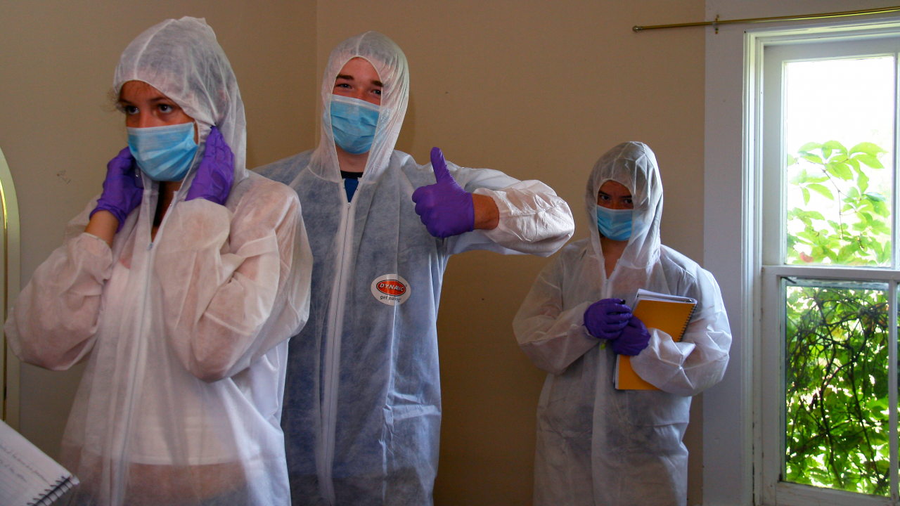 Trent University's Forensic Summer Campers in the Forensic Science Crime Scene House