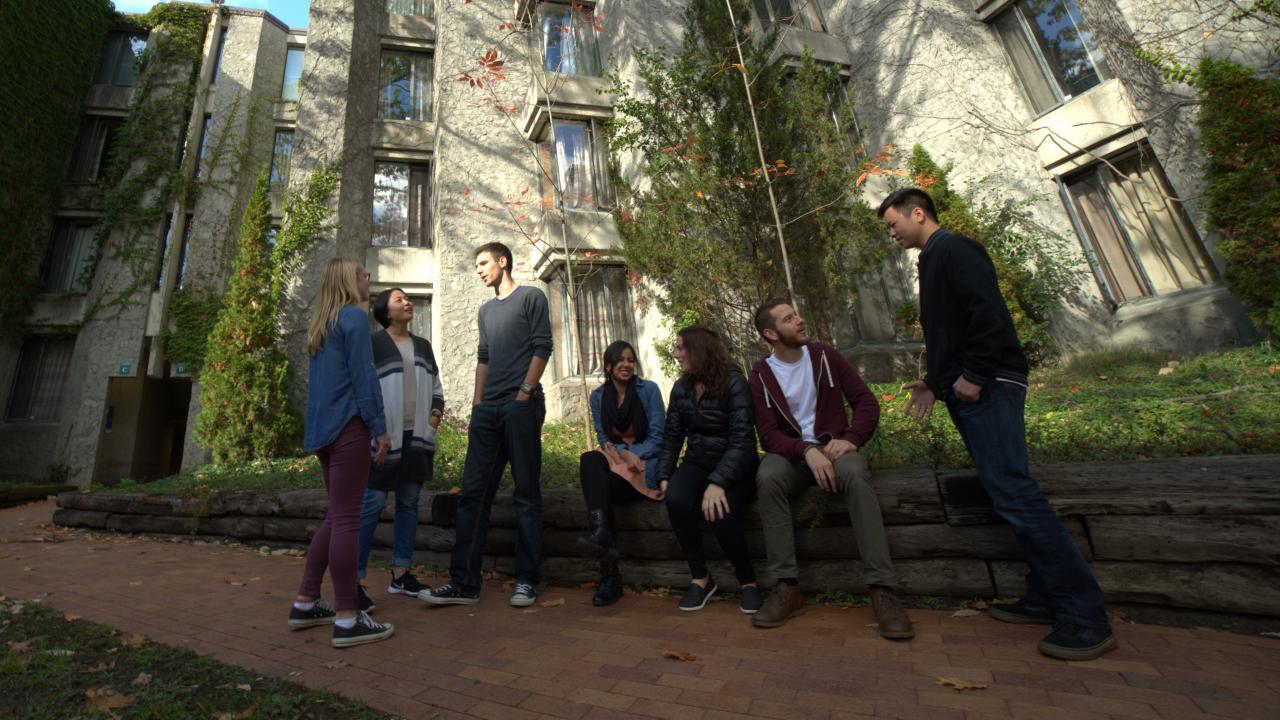 Students talking in Champlain quad