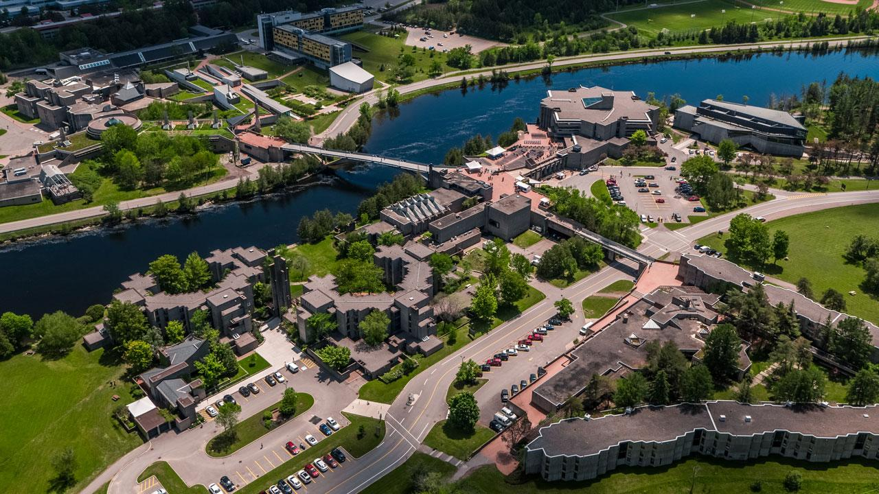 Ariel photo of the Trent University Peterborough Symons Campus