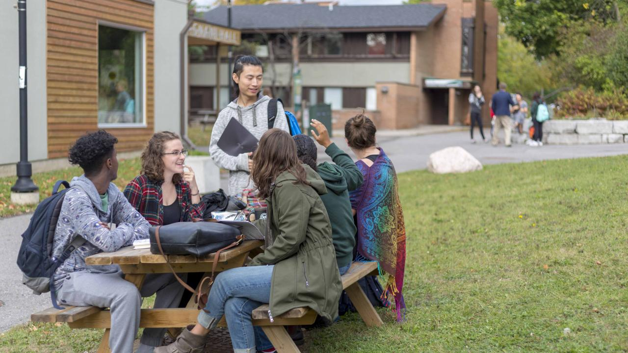 Students sitting at a picnic table at Traill College