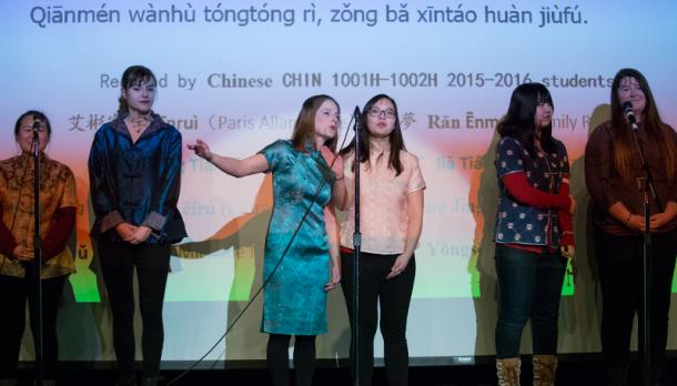 Students singing and dancing to a popular Chinese song