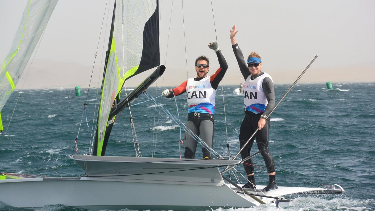 Trent Masters student Justin Barnes with his sailing teammate Alex Heinzemann