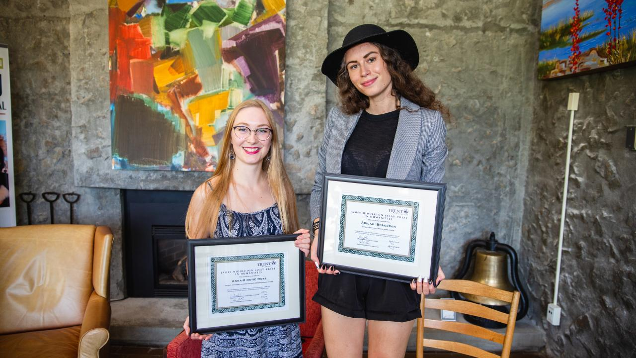 Abigail Bergeron and Anna-Kirstie Ross, recipients of the James Middleton Essay Prize