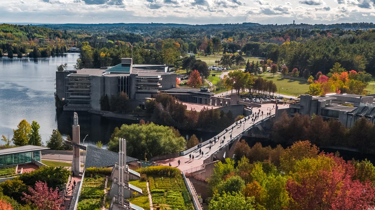 Aerial view of Trent University Symons Campus in fall.