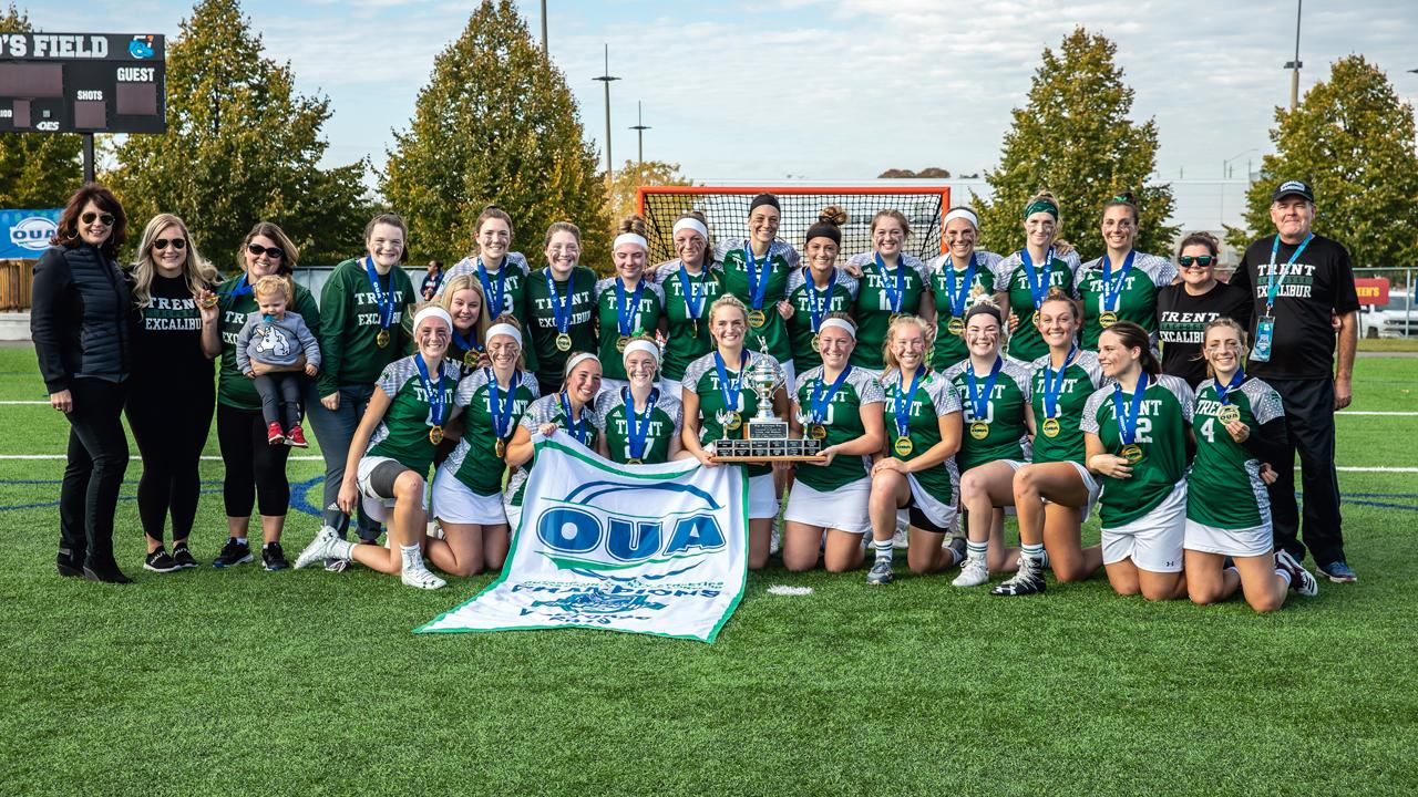 Trent Excalibur OUA Championship Women's Lacrosse team photo.