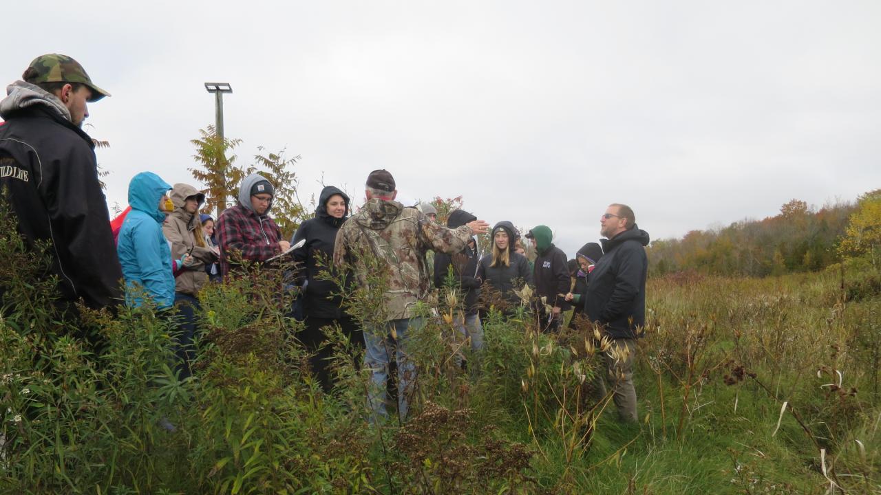 Trent University students taking a class tour.