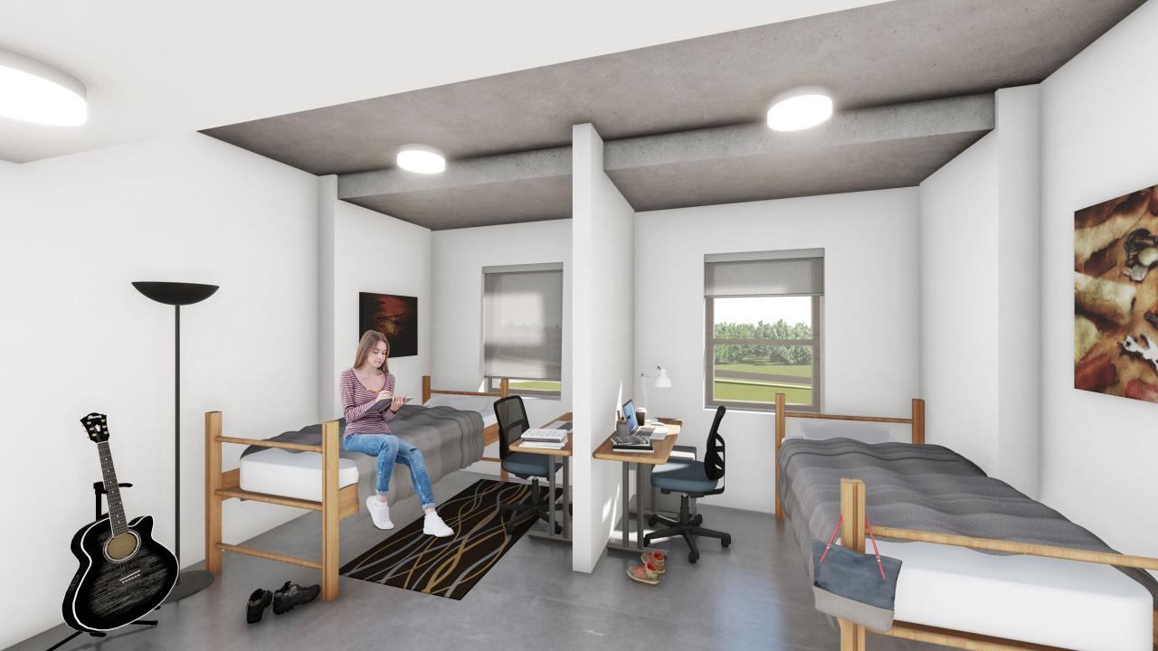 Rendering of new double residence room at Trent University Durham GTA