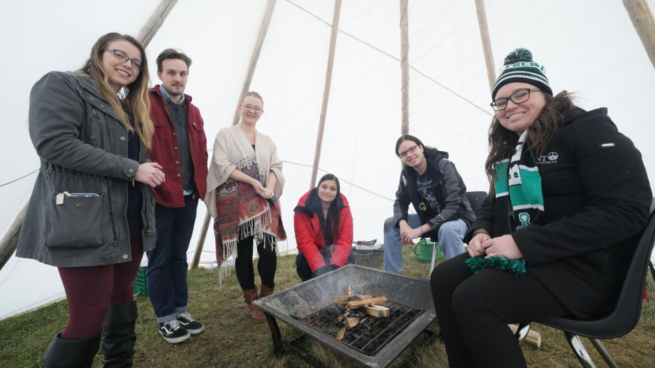 In the tipi at Trent University Durham GTA
