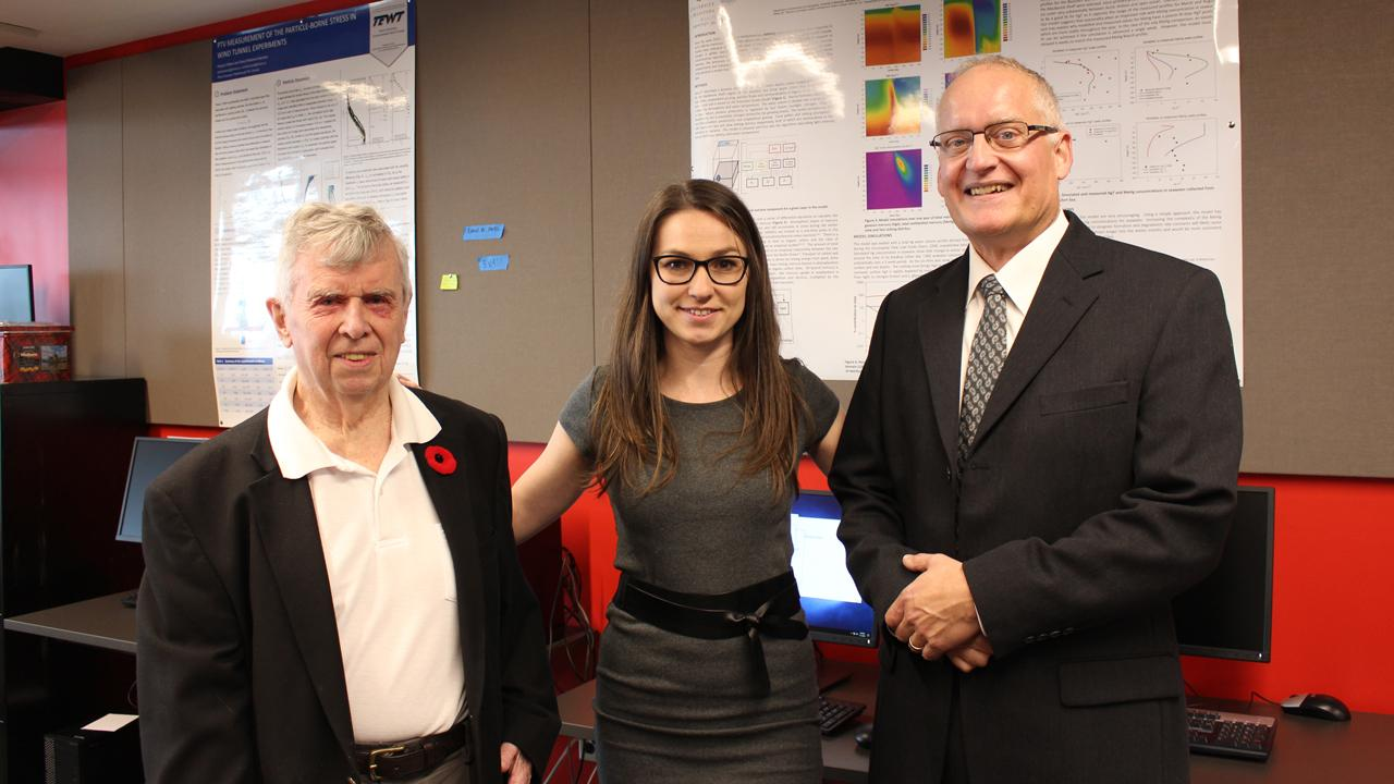 Dr. Donald Mackay, Ph.D. candidate Alena Celsie, Dr. Mark Parnis (L-R) in the newly dedicated Don Mackay Environmental Modelling Room.