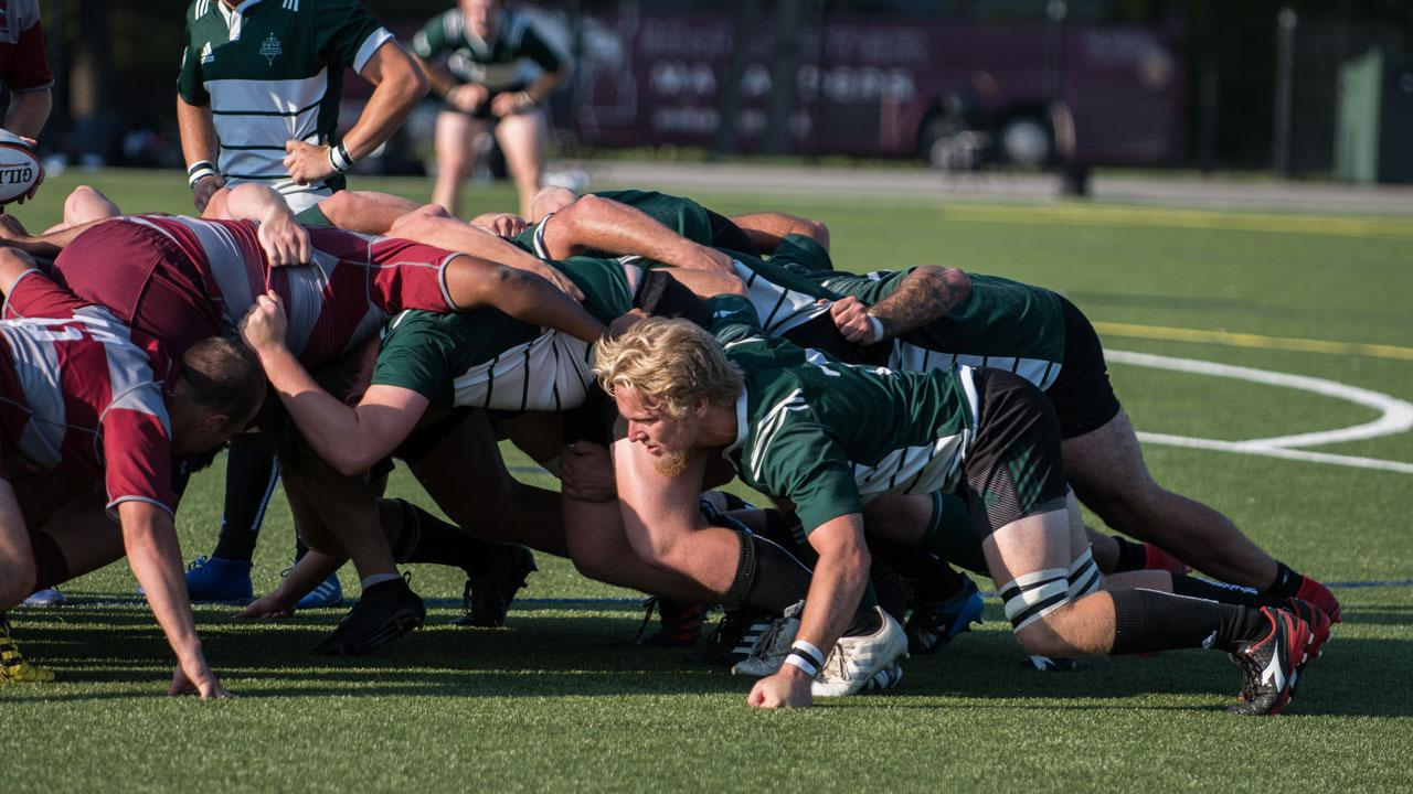 Trent Excalibur Men's Rugby team on the field vs the Brock Badgers
