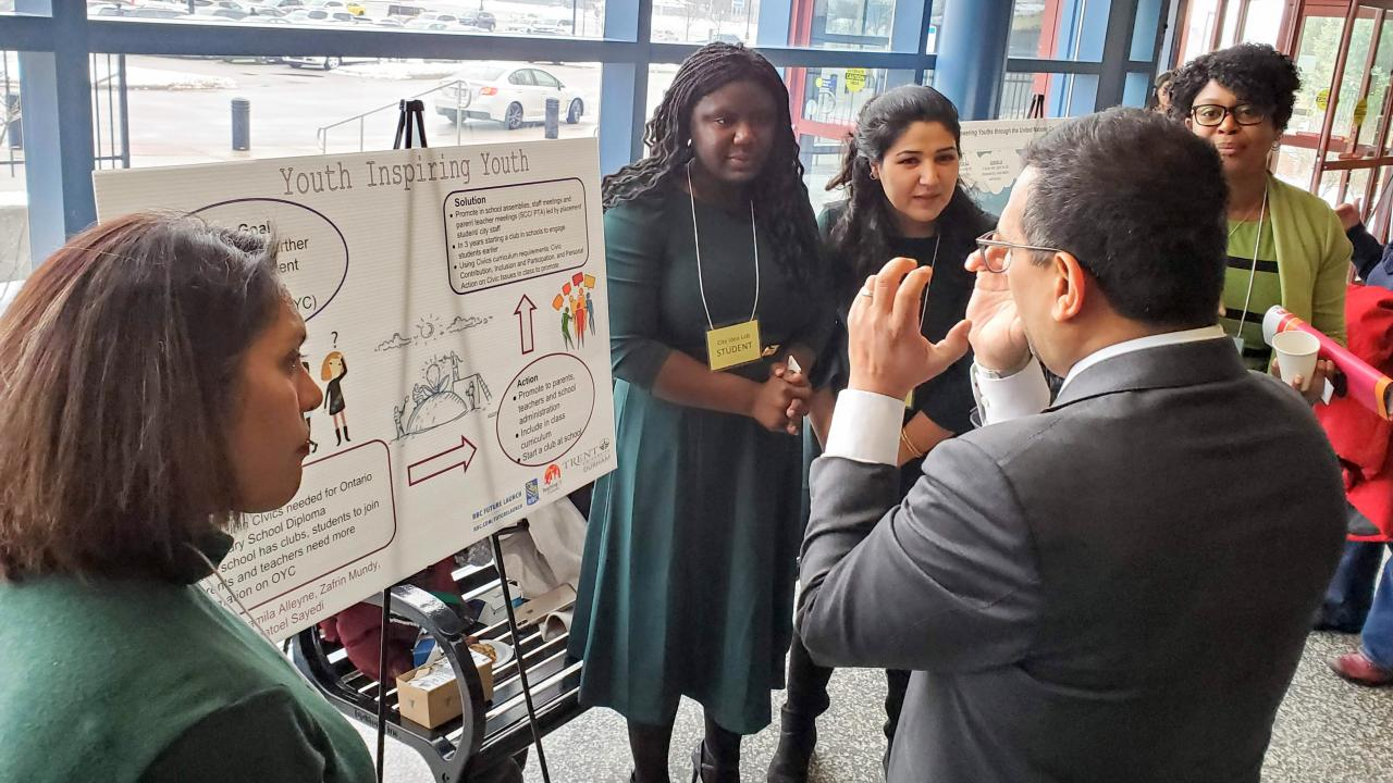 Trent U Durham students presenting their work at the fall 2019 City Idea Lab Showcase