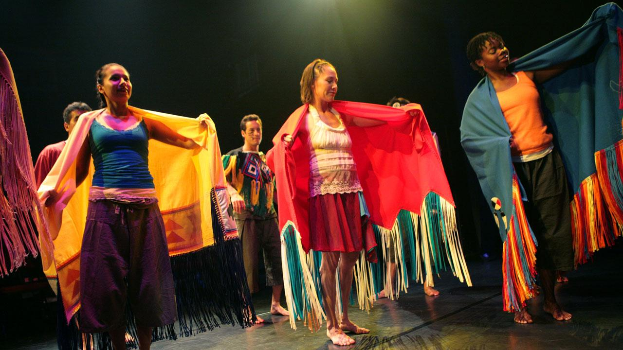 Trent University students performing in the Nozhem First Peoples Performance Space.