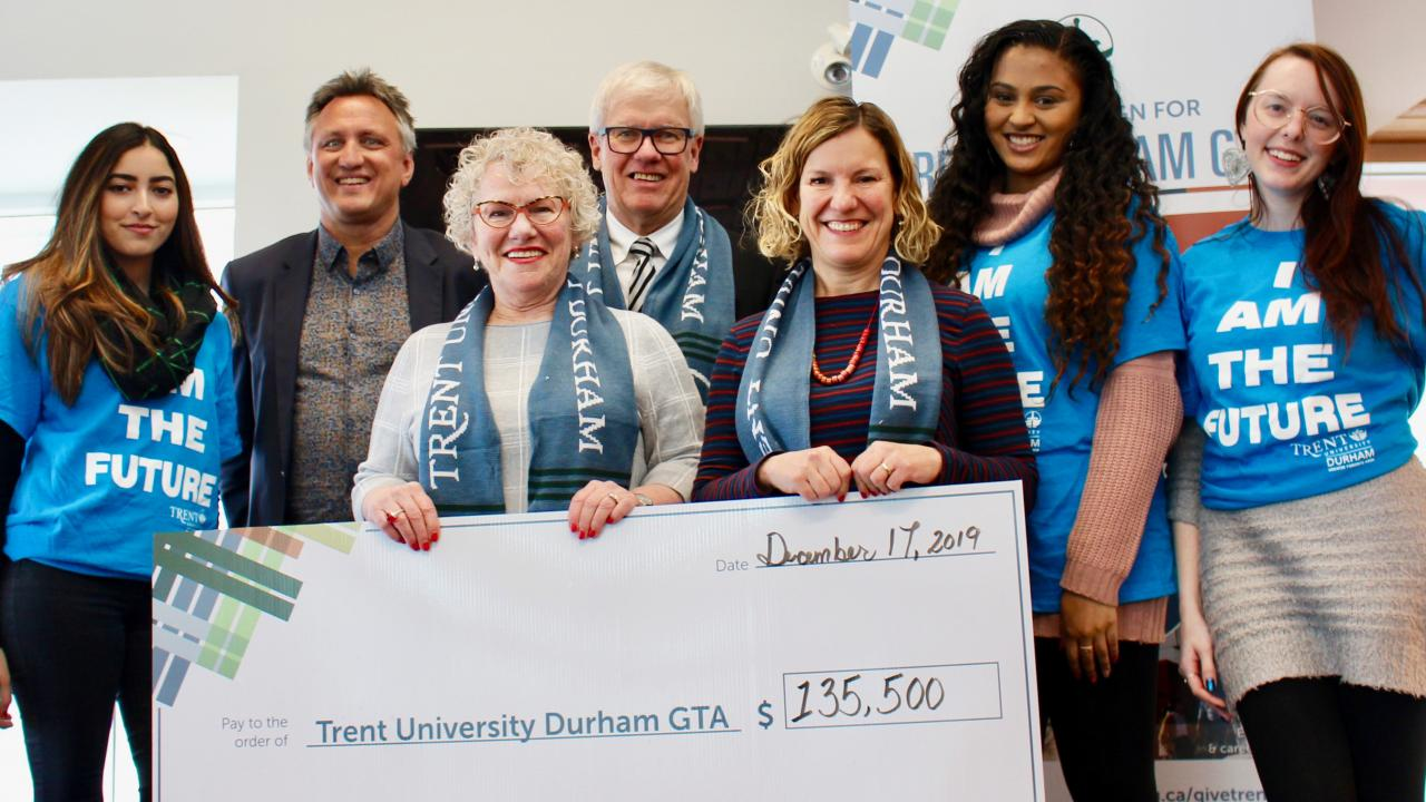 Local business leaders, Edmond and Sylvia Vanhaverbeke presenting a cheque for $135,500 to The Campaign for Trent Durham GTA